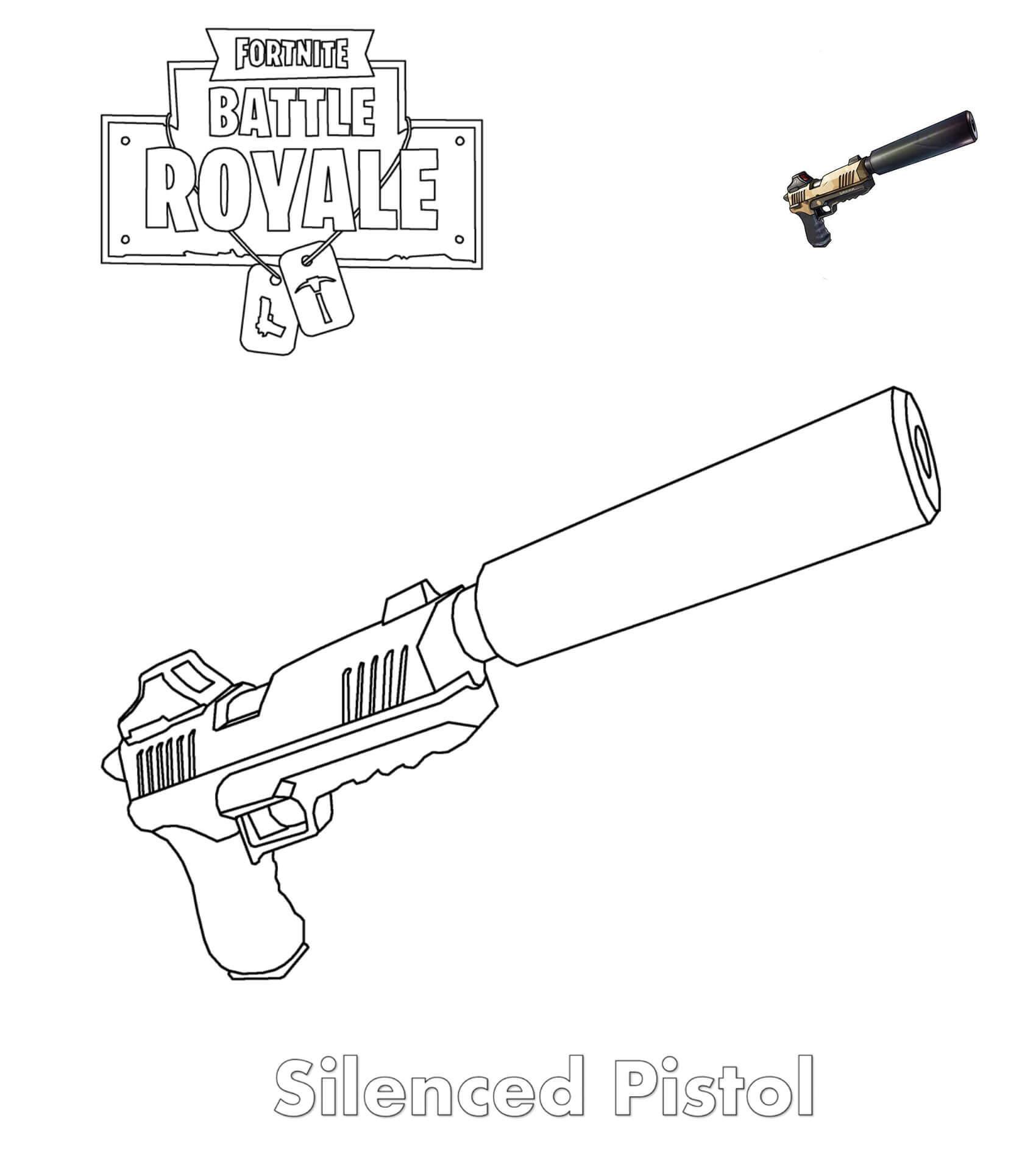 розмальовка Пістолет з глушителем