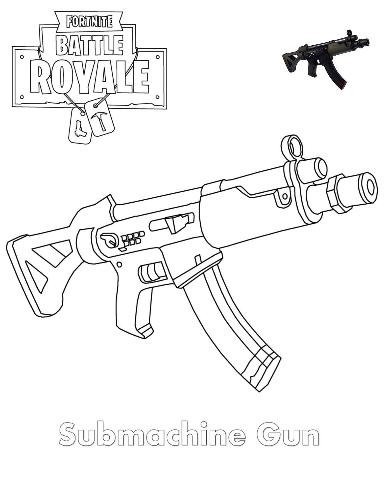 розмальовка Міні пістолет-кулемет